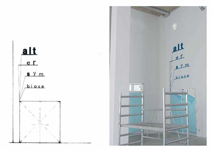 Lise Nørholm, visualisering af tekst-nedslag i bygningen, fra skitsen